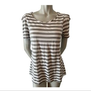 BCBGeneration White and Silver Striped Top Size L